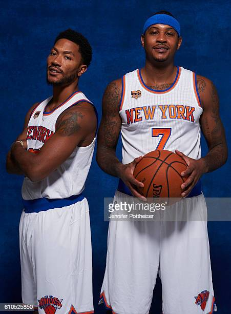 Derrick Rose and Carmelo Anthony of the New York Knicks pose for a portrait during media day at the Ritz Carlton in White Plains New York on...