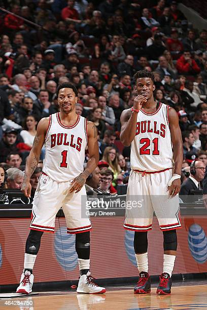 Derrick Rose and Jimmy Butler of the Chicago Bulls during the game against the Milwaukee Bucks on February 23 2015 at the United Center in Chicago...