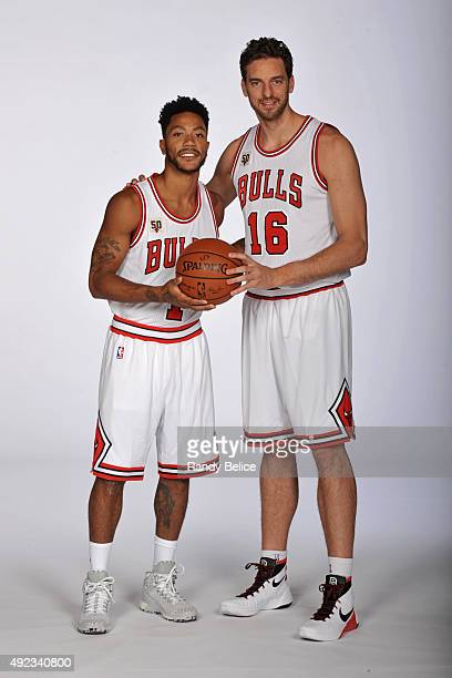 Derrick Rose and Pau Gasol of the Chicago Bulls poses for a portrait during Media Day on September 28 2015 at the Advocate Center in Chicago Illinois...
