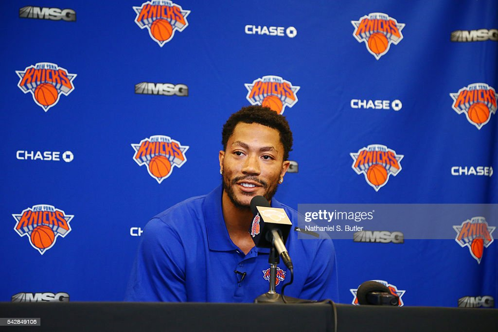 <a gi-track='captionPersonalityLinkClicked' href=/galleries/search?phrase=Derrick+Rose&family=editorial&specificpeople=4212732 ng-click='$event.stopPropagation()'>Derrick Rose</a> is introduced at a press conference as the newest member of the New York Knicks on June 24, 2016 in New York, NY.