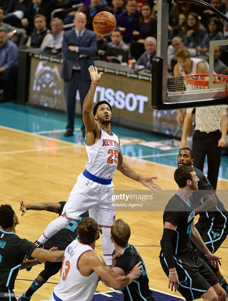 Derrick Rose of New York Knicks in action during the NBA match between New York Knicks vs Charlotte Hornets at the Spectrum arena in Charlotte, NC, USA on November 26, 2016.