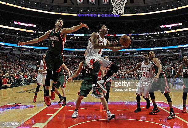 Derrick Rose of the Chicago Bulls drives to the basket past Michael CarterWilliams of the Milwaukee Bucks during the first round of the 2015 NBA...