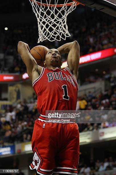 Derrick Rose of the Chicago Bulls goes uo for a dunk against the Indiana Pacers in Game Four of the Eastern Conference Quarterfinals in the 2011 NBA...