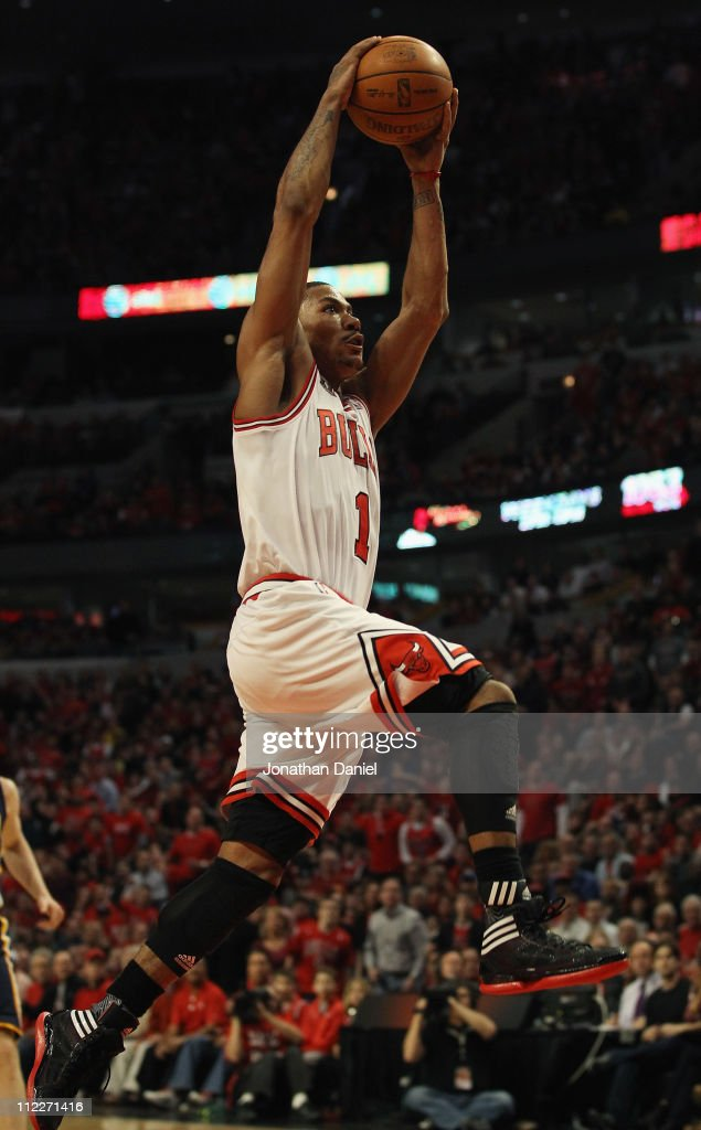 Derrick Rose #1 of the Chicago Bulls goes up for a dunk against the Indiana Pacers in Game One of the Eastern Conference Quarterfinals in the 2011 NBA Playoffs at the United Center on April 16, 2011 in Chicago, Illinois. The Bulls defeated the Pacers 104-99.