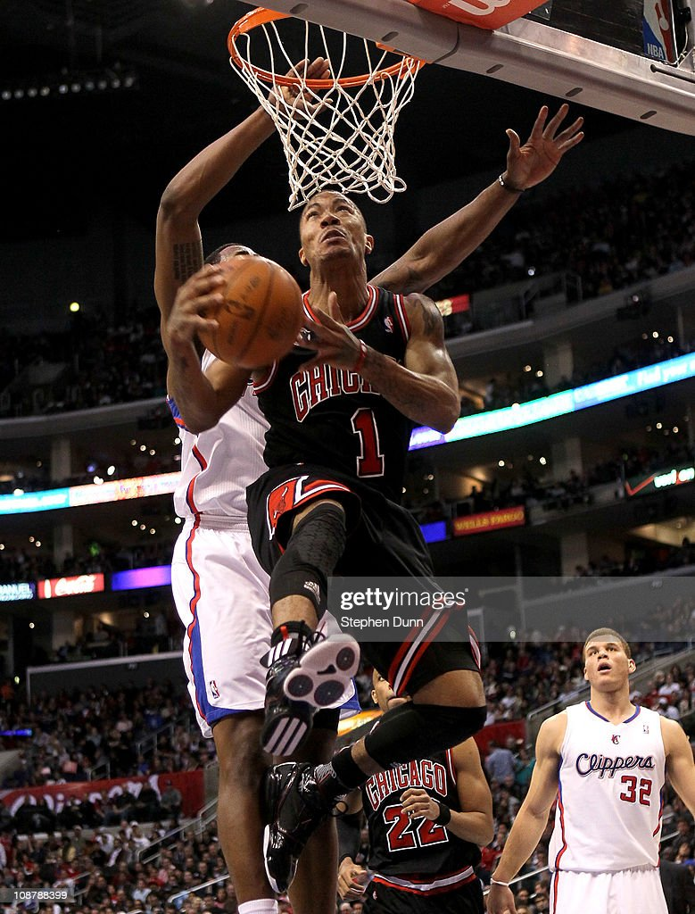 <a gi-track='captionPersonalityLinkClicked' href=/galleries/search?phrase=Derrick+Rose&family=editorial&specificpeople=4212732 ng-click='$event.stopPropagation()'>Derrick Rose</a> #1 of the Chicago Bulls goes up for a shot against the Los Angeles Clippers at Staples Center on February 2, 2011 in Los Angeles, California.