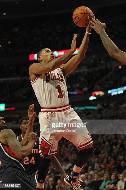 Derrick Rose of the Chicago Bulls goes up for a shot on his way to a gamehigh 30 points against the Atlanta Hawks at the United Center on January 3...