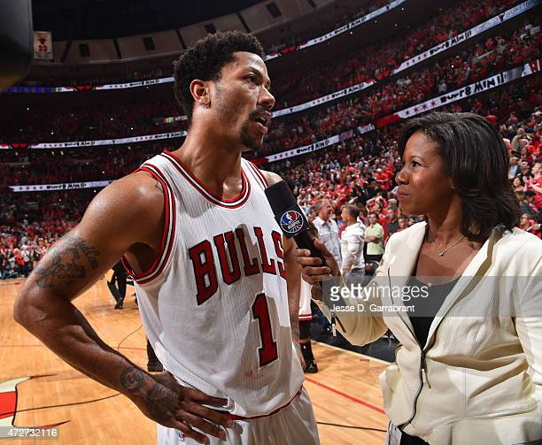 Derrick Rose of the Chicago Bulls is interviewed after hitting the game winning three pointer with three seconds left in the game against the...