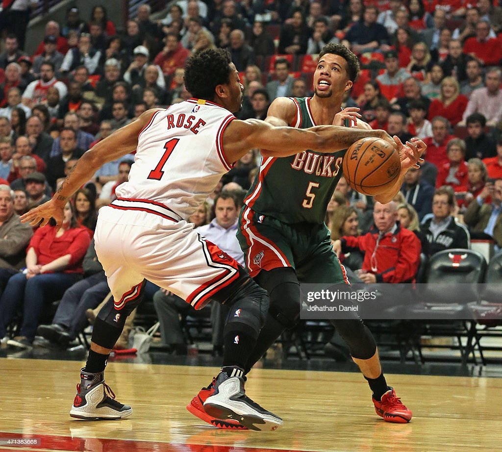<a gi-track='captionPersonalityLinkClicked' href=/galleries/search?phrase=Derrick+Rose&family=editorial&specificpeople=4212732 ng-click='$event.stopPropagation()'>Derrick Rose</a> #1 of the Chicago Bulls knocks the ball away from <a gi-track='captionPersonalityLinkClicked' href=/galleries/search?phrase=Michael+Carter-Williams&family=editorial&specificpeople=7621167 ng-click='$event.stopPropagation()'>Michael Carter-Williams</a> #5 of the Milwaukee Bucks during the first round of the 2015 NBA Playoffs at the United Center on April 27, 2015 in Chicago, Illinois.