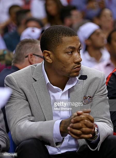 Derrick Rose of the Chicago Bulls looks on during Game Five of the Eastern Conference Semifinals of the 2013 NBA Playoffs against the Miami Heat at...