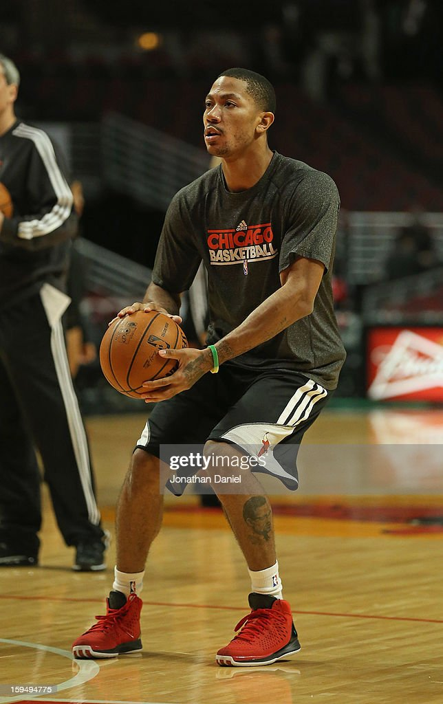 <a gi-track='captionPersonalityLinkClicked' href=/galleries/search?phrase=Derrick+Rose&family=editorial&specificpeople=4212732 ng-click='$event.stopPropagation()'>Derrick Rose</a> #1 of the Chicago Bulls participates in a shoot-around before a game between the Bulls and the Phoenix Suns as he continues his rehab from knee surgery last May at the United Center on January 12, 2013 in Chicago, Illinois.