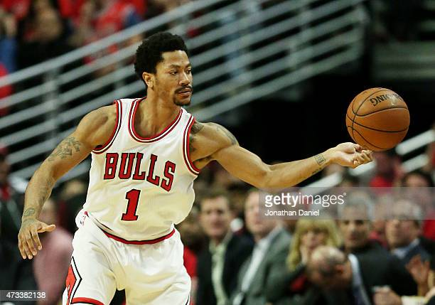 Derrick Rose of the Chicago Bulls passes against the Cleveland Cavaliers in the second quarter during Game Six of the Eastern Conference Semifinals...