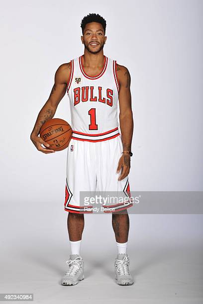 Derrick Rose of the Chicago Bulls poses for a portrait during Media Day on September 28 2015 at the Advocate Center in Chicago Illinois NOTE TO USER...