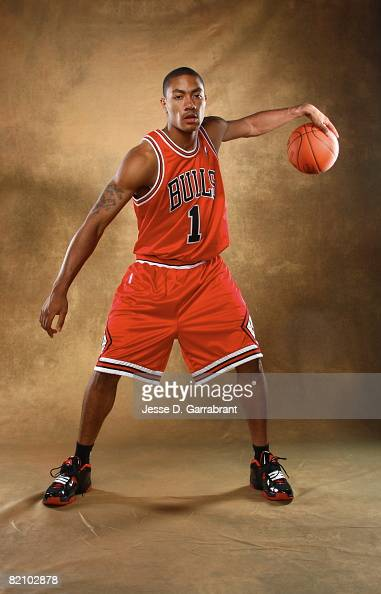 Derrick Rose of the Chicago Bulls poses for a portrait during the 2008 NBA Rookie Photo Shoot on July 29 2008 at the MSG Training Facility in...