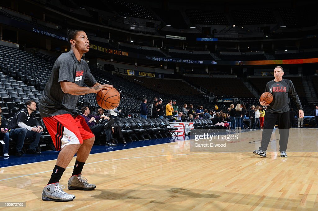 <a gi-track='captionPersonalityLinkClicked' href=/galleries/search?phrase=Derrick+Rose&family=editorial&specificpeople=4212732 ng-click='$event.stopPropagation()'>Derrick Rose</a> #1 of the Chicago Bulls practices before the game against the Denver Nuggets on February 7, 2013 at the Pepsi Center in Denver, Colorado.