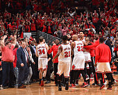 Derrick Rose of the Chicago Bulls reacts after hitting the game winning three pointer with three seconds left in the game against the Cleveland...