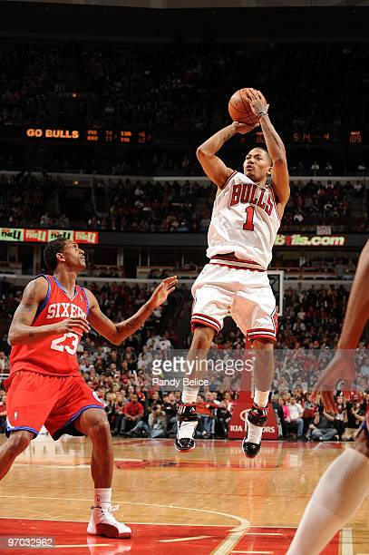 Derrick Rose of the Chicago Bulls shoots a jump shot against Louis Williams of the Philadelphia 76ers during the game at United Center on February 20...