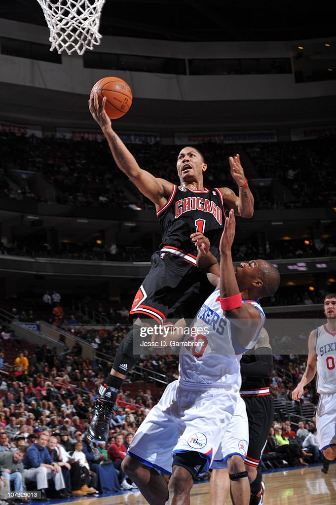 <a gi-track='captionPersonalityLinkClicked' href=/galleries/search?phrase=Derrick+Rose&family=editorial&specificpeople=4212732 ng-click='$event.stopPropagation()'>Derrick Rose</a> #1 of the Chicago Bulls shoots against <a gi-track='captionPersonalityLinkClicked' href=/galleries/search?phrase=Jodie+Meeks&family=editorial&specificpeople=4001727 ng-click='$event.stopPropagation()'>Jodie Meeks</a> #20 of the Philadelphia 76ers during the game on January 7, 2011 at the Wells Fargo Center in Philadelphia, Pennsylvania.