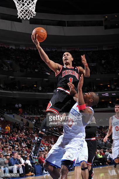 Derrick Rose of the Chicago Bulls shoots against Jodie Meeks of the Philadelphia 76ers during the game on January 7 2011 at the Wells Fargo Center in...