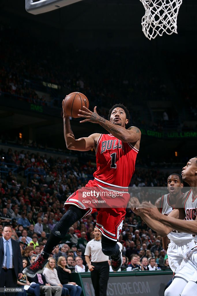 Derrick Rose of the Chicago Bulls shoots against the Milwaukee Bucks in Game Four of the Eastern Conference Quarterfinals during the 2015 NBA...