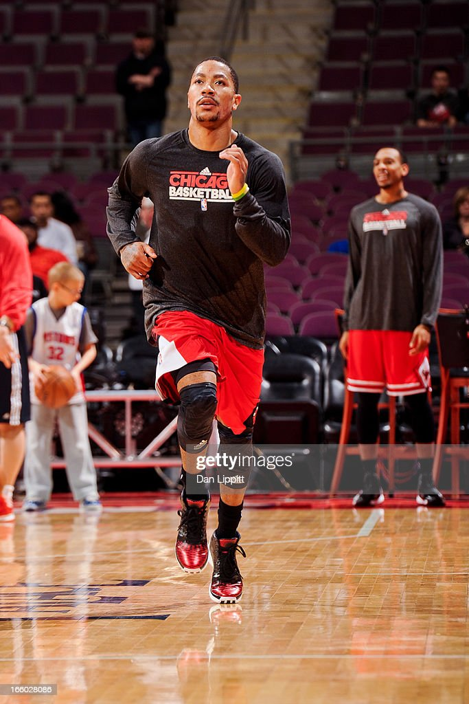 Derrick Rose #1 of the Chicago Bulls sprints before his team's game against the Detroit Pistons on April 7, 2013 at The Palace of Auburn Hills in Auburn Hills, Michigan.
