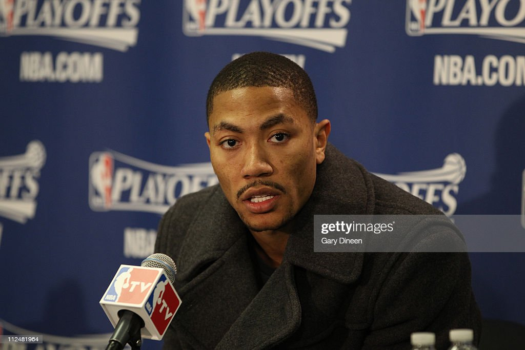 Derrick Rose #1 of the Chicago Bulls talks during the press conference after Game Two of the Eastern Conference Quarterfinals against the Indiana Pacers in the 2011 NBA Playoffs on April 18, 2011 at the United Center in Chicago, Illinois.