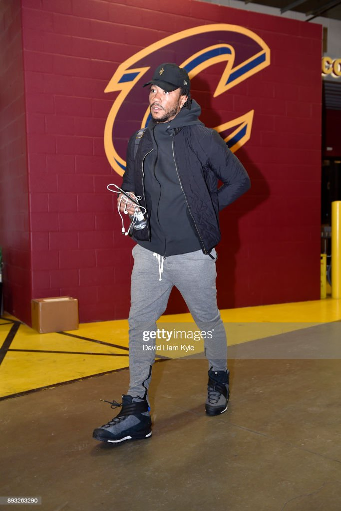 Derrick Rose #1 of the Cleveland Cavaliers arrives before the game against the Los Angeles Lakers on December 14, 2017 at Quicken Loans Arena in Cleveland, Ohio.