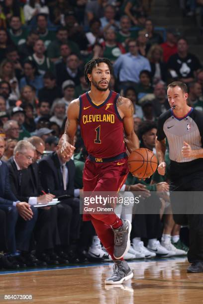 Derrick Rose of the Cleveland Cavaliers handles the ball against the Milwaukee Bucks on October 20 2017 at the BMO Harris Bradley Center in Milwaukee...