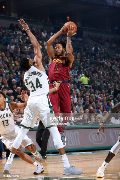 Derrick Rose of the Cleveland Cavaliers looks to pass against the Milwaukee Bucks on October 20 2017 at the BMO Harris Bradley Center in Milwaukee...