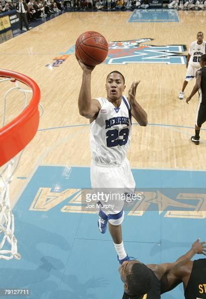 Derrick Rose of the Memphis Tigers shoots a running jumper against the Southern Miss Golden Eagles at FedExForum January 19 2008 in Memphis Tennessee...
