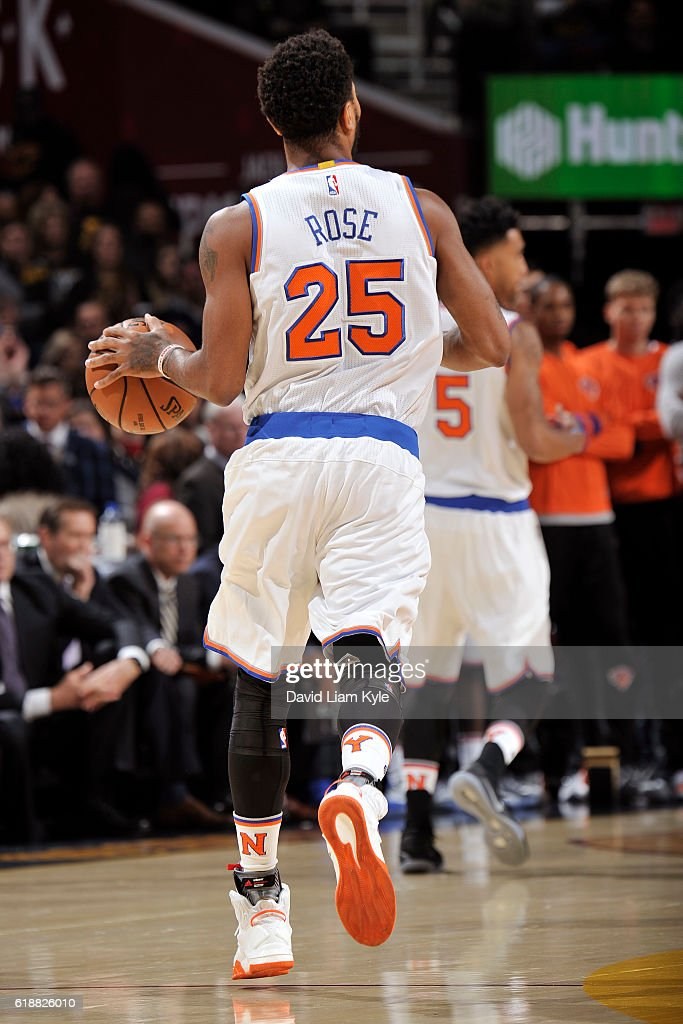 Derrick Rose #25 of the New York Knicks dribbles the ball up court against the Cleveland Cavaliers on October 25, 2016 at Quicken Loans Arena in Cleveland, Ohio.