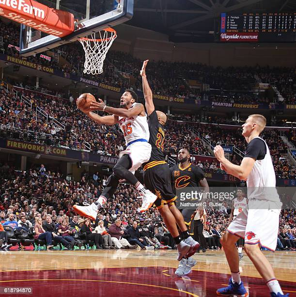 Derrick Rose of the New York Knicks drives to the basket against the Cleveland Cavaliers on October 25 2016 at Quicken Loans Arena in Cleveland Ohio...