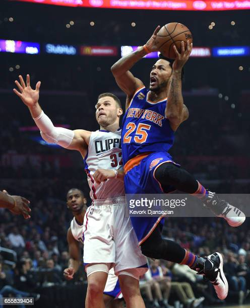 Derrick Rose of the New York Knicks goes for a basket against Blake Griffin of the Los Angeles Clippers during the first half of the basketball game...