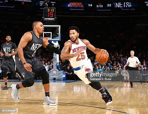 Derrick Rose of the New York Knicks handles the ball against Randy Foye of the Brooklyn Nets on November 9 2016 at Madison Square Garden in New York...
