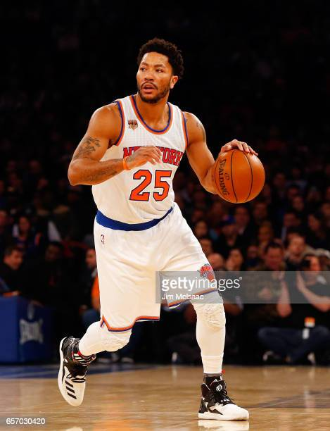 Derrick Rose of the New York Knicks in action against the Los Angeles Clippers at Madison Square Garden on February 8 2017 in New York City The...