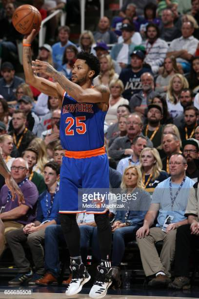 Derrick Rose of the New York Knicks shoots the ball against the Utah Jazz on March 22 2017 at vivintSmartHome Arena in Salt Lake City Utah NOTE TO...
