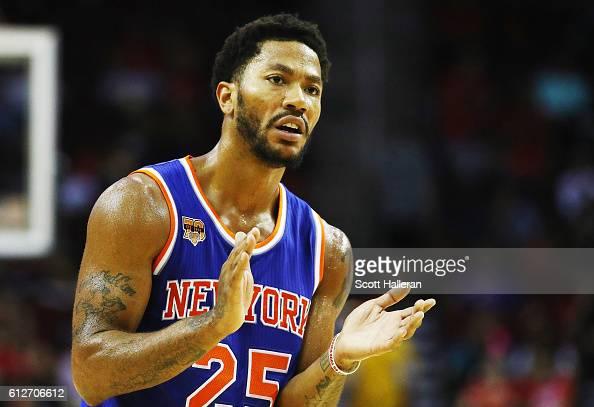 Derrick Rose of the New York Knicks waits on the court during their game against the Houston Rockets at the Toyota Center on October 4 2016 in...