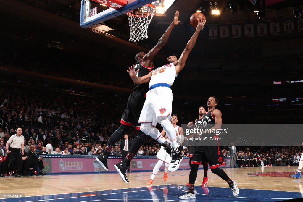 Derrick Rose #25 of the New York Knickss;tb; against the Toronto Raptors on February 27, 2017 at Madison Square Garden in New York City.