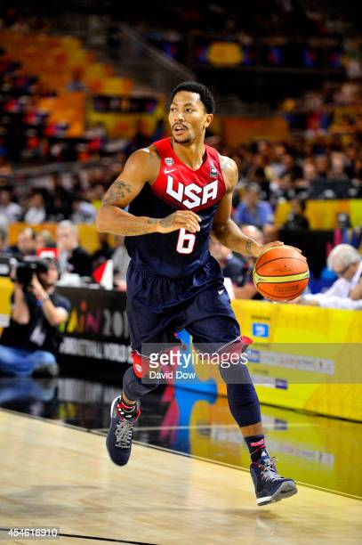Derrick Rose of the USA Basketball Men's National Team drives to the basket against the Ukraine Basketball Team during the FIBA 2014 World Cup...