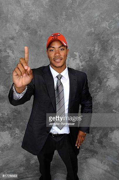 Derrick Rose selected number one overall by the Chicago Bulls poses for a portrait backstage during the 2008 NBA Draft on June 26 2008 at the WaMu...