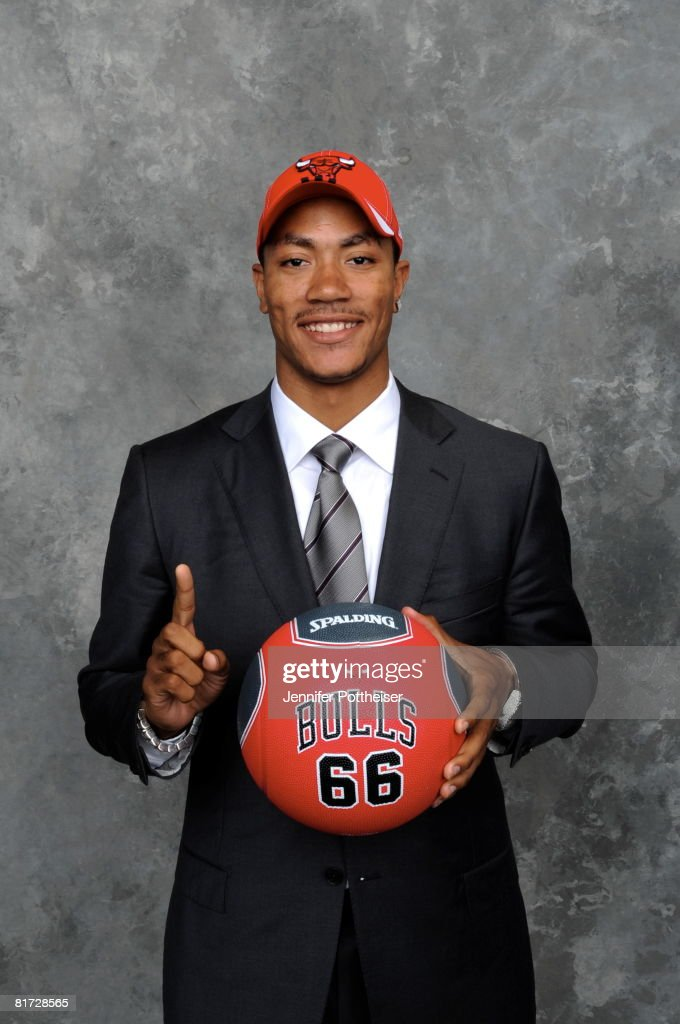 <a gi-track='captionPersonalityLinkClicked' href=/galleries/search?phrase=Derrick+Rose&family=editorial&specificpeople=4212732 ng-click='$event.stopPropagation()'>Derrick Rose</a> selected number one overall by the Chicago Bulls poses for a portrait back stage during the 2008 NBA Draft on June 26, 2008 at the WaMu Theatre at Madison Square Garden in New York City.