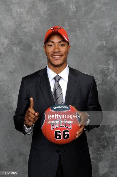 Derrick Rose selected number one overall by the Chicago Bulls poses for a portrait back stage during the 2008 NBA Draft on June 26 2008 at the WaMu...