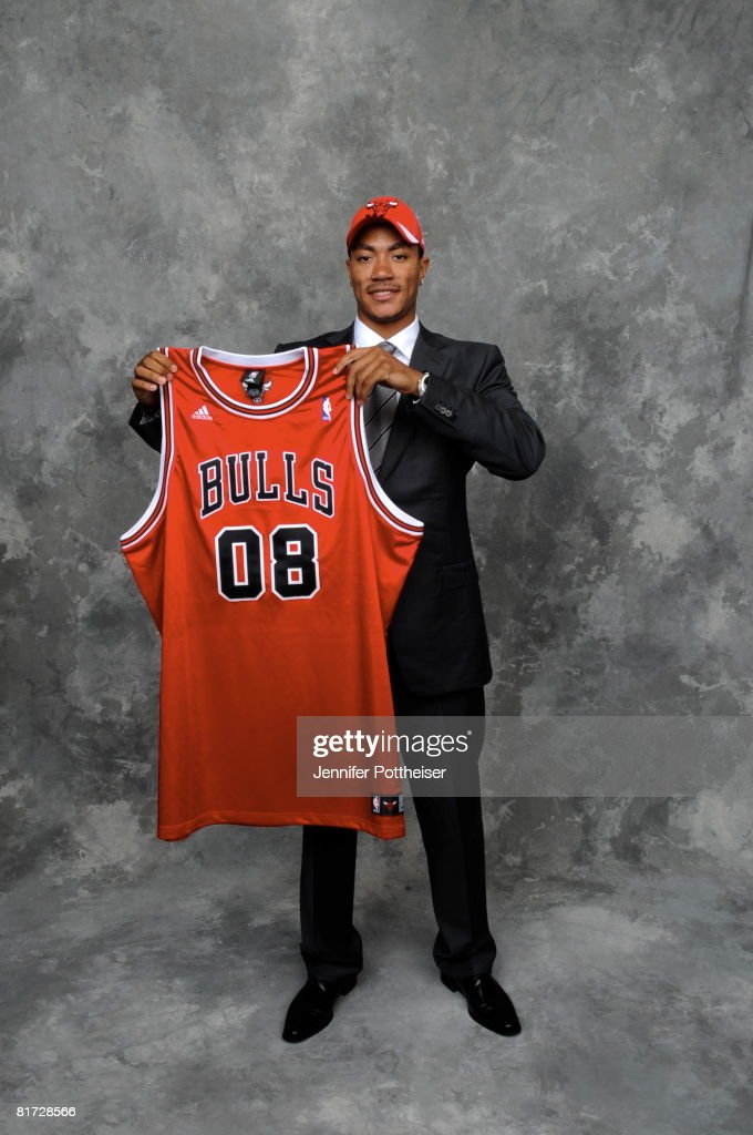 Derrick Rose selected number one overall by the Chicago Bulls poses for a portrait backstage during the 2008 NBA Draft on June 26, 2008 at the WaMu Theatre at Madison Square Garden in New York City.