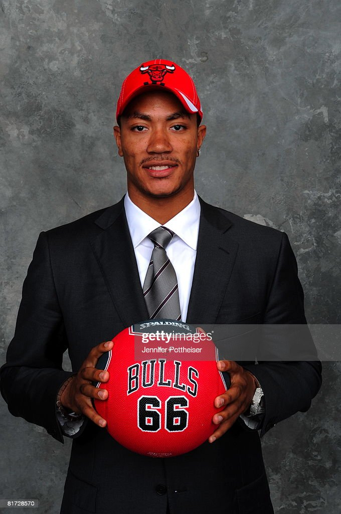 <a gi-track='captionPersonalityLinkClicked' href=/galleries/search?phrase=Derrick+Rose&family=editorial&specificpeople=4212732 ng-click='$event.stopPropagation()'>Derrick Rose</a> selected number one overall by the Chicago Bulls poses for a portrait backstage during the 2008 NBA Draft on June 26, 2008 at the WaMu Theatre at Madison Square Garden in New York City.