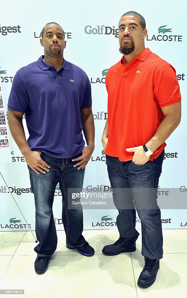 Derrick Shelby and <a gi-track='captionPersonalityLinkClicked' href=/galleries/search?phrase=Jared+Odrick&family=editorial&specificpeople=3964504 ng-click='$event.stopPropagation()'>Jared Odrick</a> attend the Lacoste & Golf Digest Celebrate Links On Lincoln Honoring Cristie Kerron November 19, 2012 in Miami, Florida.