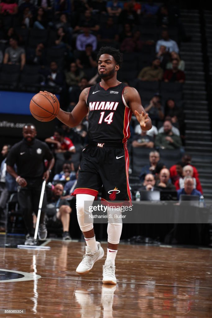 Derrick Walton Jr. #14 of the Miami Heat drives to the basket against the Brooklyn Nets during a preseason game on October 5, 2017 at Barclays Center in Brooklyn, New York.