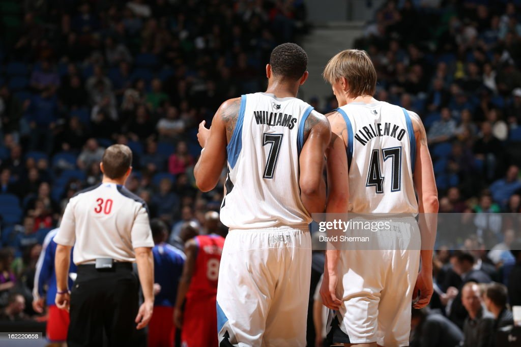Derrick Williams #7 and Andrei Kirilenko #47 of the Minnesota Timberwolves confer during the game between Philadelphia 76ers and the Minnesota Timberwolves on February 20, 2013 at Target Center in Minneapolis, Minnesota.