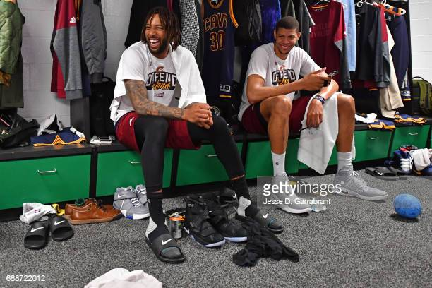 Derrick Williams and Edy Tavares of the Cleveland Cavaliers celebrate in the locker room after winning Game Five of the Eastern Conference Finals...