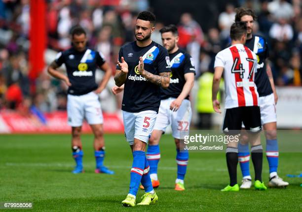 Derrick Williams of Blackburn Rovers looks dejected after being relegated after the Sky Bet Championship match between Brentford and Blackburn Rovers...