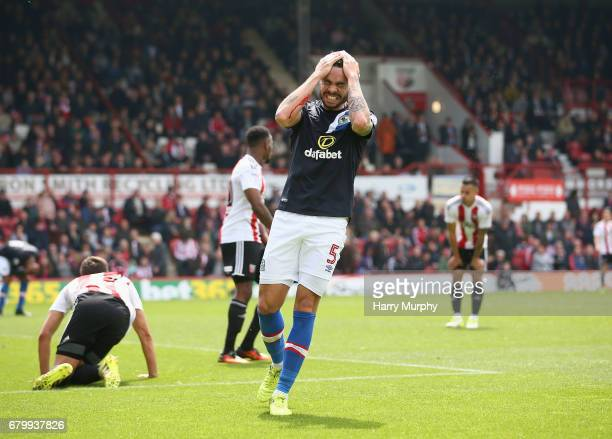 Derrick Williams of Blackburn Rovers reacts during the Sky Bet Championship match between Brentford and Blackburn Rovers at Griffin Park on May 7...