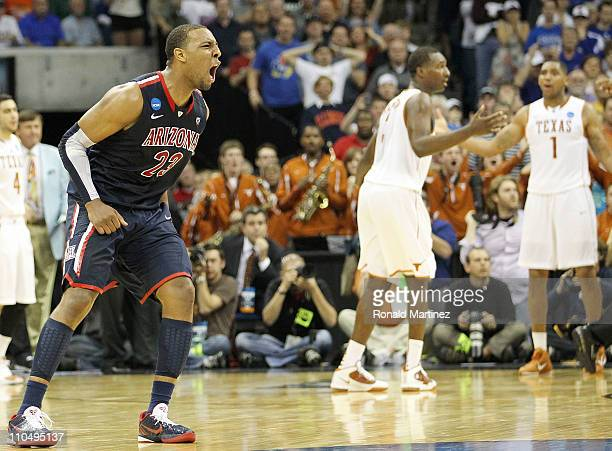 Derrick Williams of the Arizona Wildcats celebrates after defeating the Texas Longhorns 7069 in the third round of the 2011 NCAA men's basketball...